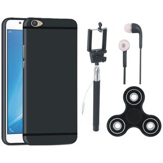 Vivo V7 Plus Silicon Slim Fit Back Cover with Spinner, Selfie Stick and Earphones