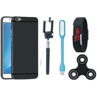 Vivo V7 Plus Silicon Slim Fit Back Cover with Spinner, Selfie Stick, Digtal Watch and USB LED Light