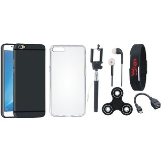 Vivo V7 Plus Silicon Slim Fit Back Cover with Spinner, Silicon Back Cover, Selfie Stick, Digtal Watch, Earphones and OTG Cable