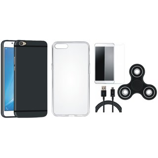Vivo V7 Plus Silicon Slim Fit Back Cover with Spinner, Silicon Back Cover, Tempered Glass and USB Cable