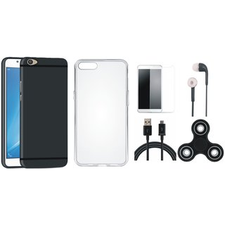 Vivo V7 Plus Silicon Slim Fit Back Cover with Spinner, Silicon Back Cover, Earphones, Tempered Glass and USB Cable