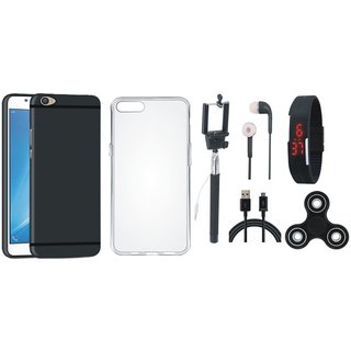 Vivo V7 Plus Silicon Slim Fit Back Cover with Spinner, Silicon Back Cover, Selfie Stick, Digtal Watch, Earphones and USB Cable