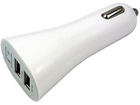 Dual USB Car Charger (White) by KSJ Accessories