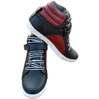 3 WOLVES Red Leather Mid-Ankle Sneakers