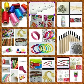 Silk thread , Quilling and Terracotta jewellery making 3 in 1 kit with instruction book