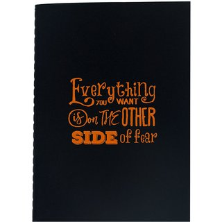 The Crazy Me Everything You Want is on the Other Side OF Fear Black Soft bound A6 Diary