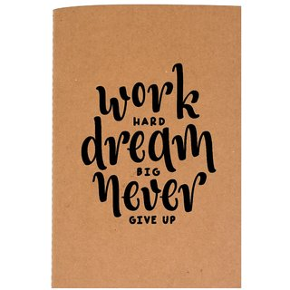 The Crazy Me Work Hard Dream Big Never Give Up Brown Soft bound A6 Diary
