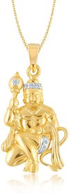 V. K Jewels LORD GADHADHARI HANUMAN Pendant gold and Rhodium plated -  PS1012G