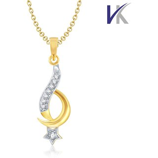 V. K Jewels Moon Star Gold and Rhodium plated pendant -  PS1055G