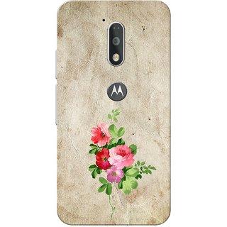 Moto G4 Plus, Old Paper Colour Flower Slim Fit Hard Case Cover/Back Cover for Moto G Plus 4th Gen/Moto G4 Plus