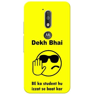 Moto G4 Plus, Dekh Bhai Yellow Slim Fit Hard Case Cover/Back Cover for Moto G Plus 4th Gen/Moto G4 Plus