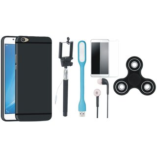 Samsung J7 Prime Soft Silicon Slim Fit Back Cover with Free Spinner, Selfie Stick, Tempered Glass, Earphones and LED Light