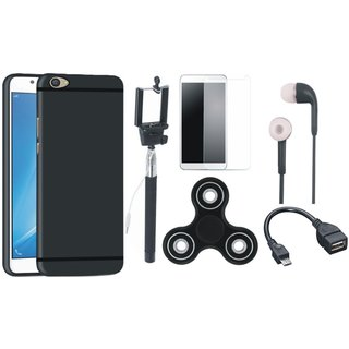 Samsung J7 Prime Soft Silicon Slim Fit Back Cover with Free Spinner, Selfie Stick, Tempered Glass, Earphones and OTG Cable