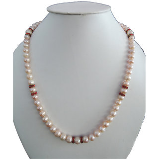 Fresh Water Pearl Necklace in Peach Color  with Red color CZ ring