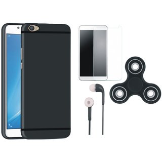 Samsung J7 Max Silicon Anti Slip Back Cover with Spinner, Tempered Glass and Earphones