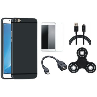 Samsung J7 Max Silicon Anti Slip Back Cover with Spinner, Tempered Glass, OTG Cable and USB Cable