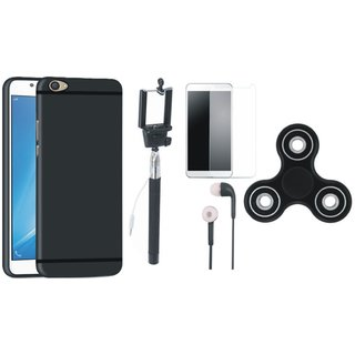 Oppo A57 Silicon Slim Fit Back Cover with Free Spinner, Selfie Stick, Tempered Glass and Earphones