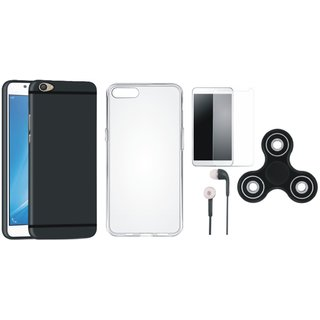 Oppo A57 Silicon Anti Slip Back Cover with Spinner, Silicon Back Cover, Tempered Glass and Earphones