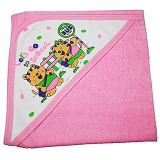 CRACK4DEAL Hozri Towel Cum Wrapper Sheet Printed Baby Towels (Pink)