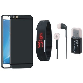 Oppo A37 Silicon Slim Fit Back Cover with Memory Card Reader, Digital Watch and Earphones