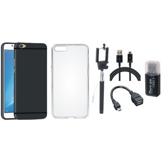 Oppo A37 Stylish Back Cover with Memory Card Reader, Silicon Back Cover, Selfie Stick, OTG Cable and USB Cable