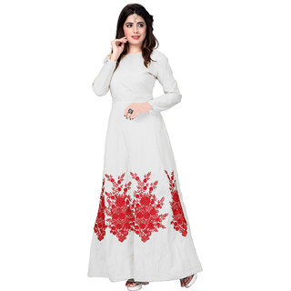 4080cd3d14ac Aika Women s Banglory Silk Embroidery Work Designer Stright Gown Free  SizeG047-Holi White