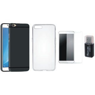 Oppo A37 Stylish Back Cover with Memory Card Reader, Silicon Back Cover, Tempered Glass