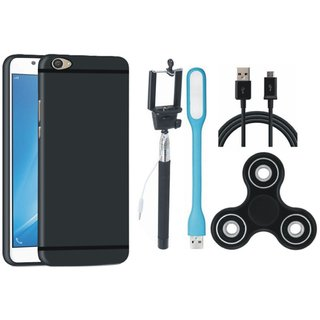 Oppo A37 Silicon Slim Fit Back Cover with Spinner, Selfie Stick, USB LED Light and USB Cable