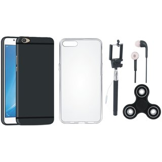 Oppo A37 Soft Silicon Slim Fit Back Cover with Spinner, Silicon Back Cover, Selfie Stick and Earphones
