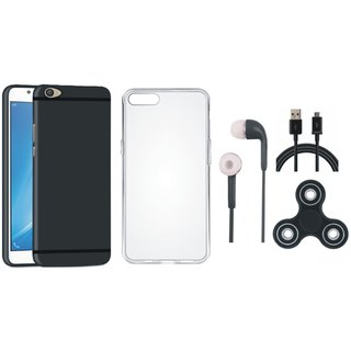 Oppo A37 Silicon Slim Fit Back Cover with Spinner, Silicon Back Cover, Earphones and USB Cable