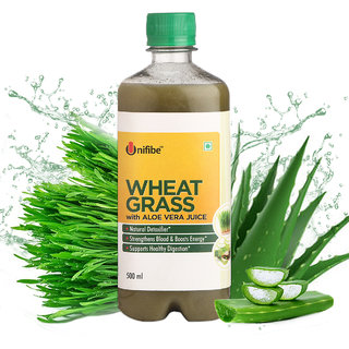 Unifibe Wheatgrass with Aloevera Juice (No Added Sugar)  500 ml