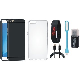 Oppo A37 Silicon Slim Fit Back Cover with Memory Card Reader, Silicon Back Cover, Digital Watch, USB LED Light and USB Cable