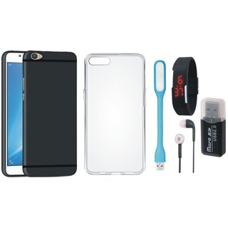 Oppo A37 Silicon Slim Fit Back Cover with Memory Card Reader, Silicon Back Cover, Digital Watch, Earphones and USB LED Light