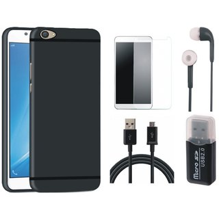 Samsung J7 Pro Silicon Slim Fit Back Cover with Memory Card Reader, Earphones, Tempered Glass and USB Cable