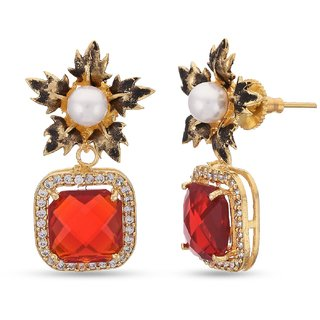 Tiene Fl Indo Western Colored Stones Designer Latest Trendy Dangler Earring For Womens Er