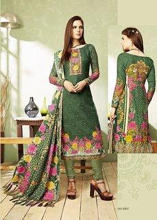 Green Color Pashmina Salwar -Suit (Un-stitched)