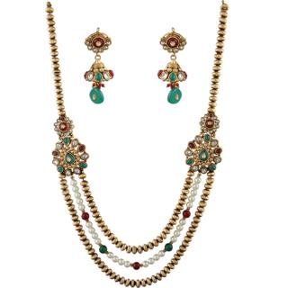 Anuradha Art Golden Colour Wonderful Designer Very Classy Traditional Long Necklace Set For Women/Girls