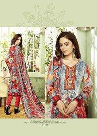 Multi-color Pashmina Suit with Shawl (Un-stitched)