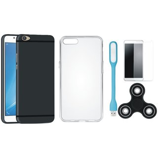 Oppo A37 Silicon Anti Slip Back Cover with Spinner, Silicon Back Cover, Tempered Glas and USB LED Light