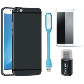 Samsung C9 Pro Soft Silicon Slim Fit Back Cover with Memory Card Reader, Tempered Glas and USB LED Light
