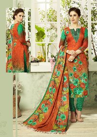Orange and Green Pashmina Salwar-Suit (Un-stitched)