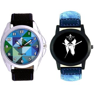 White Color Tie With Hexa Sky Colour SCK Combo Gallery Wrist Watch