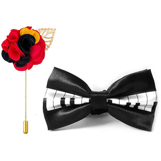 Visach combo of Men party wear accessories combo stylish bow tie with Lapel pin Boutonniere For Suit
