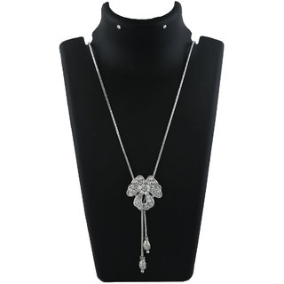Anuradha Art Silver Finish Styled With Studded With Sparkling Stone Chain Pendant For Women/Girls