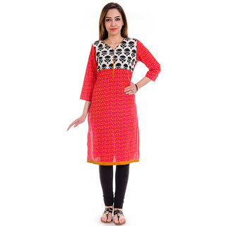 98811bf3f8 Buy Jaipuri Printed Cotton Red Color Straight Kurti Online - Get 56% Off