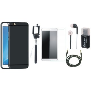 Oppo F1s Soft Silicon Slim Fit Back Cover with Memory Card Reader, Free Selfie Stick, Tempered Glass, Earphones and AUX Cable
