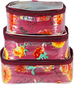 Spero Multi Purpose Kit,Make Up kit,Travelling Organiser,Cosmetic Organiser Set Of 3 Pcs Floral Print