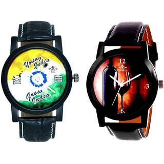 Glassy Classic Style With Young India Grow India SCK Combo Gallery Wrist Watch