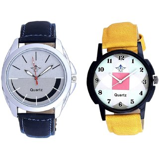 Smile Silver Black With Parikar Hexa Square Design SCK Combo Gallery Wrist Watch
