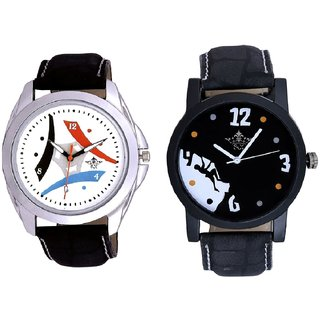 Goal Achived Motivated Black Dial With Multi Design Tri Fan Stylish SCK Combo Gallery Wrist Watch